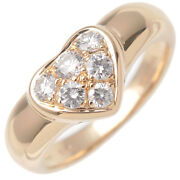 Authentic Tiffanyandco. Heart Pave 6p Diamond Ring Yellow Gold Us4.5-5 Used F/s