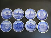 Royal Copenhagen Fajance, Blue Mini Pates, Set Of 8 , 2010, Dated And Numbered