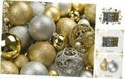 100 Gold And Silver Christmas Ornament Balls Shatterproof +100 Gold And Silver