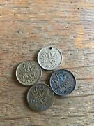 4 Canada Wwii Era Coins 1941 1942 1943 1942 Holecents Circulated