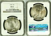 1928 Peace Silver Dollar - Ngc Ms 62 - Old Holder - Undergraded - Mint Luster