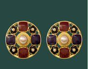 Antique Palace Retro Burgundy Black Pearls Round Clip Earrings Gold