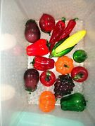 Lot Of 15 Beautiful Hand Blown Murano Style Art Glass Fruit And Vegetables