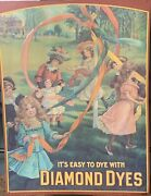 Vintage Diamond Dyes Cabinet Tin Advertising Sign Children Playing 24andrdquo X 16andrdquo