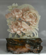 20 Exquisite Natural Xiu Pink Jade Carved Subshrubby Peony Flower Birds Statue