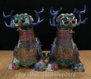 20 Old China Bronze Ware Painting Feng Shui Pixiu Fly Beast Wealth Statue Pair