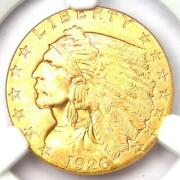 1926 Indian Gold Quarter Eagle 2.50 Coin - Certified Ngc Ms65+ Plus Grade