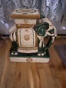 Vintage Ceramic Elephant Plant Stand / Side Table Yellow Green Jade