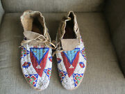 1850-1880 Native American Cheyennne Indian Beaded Painted Parfleche Moccasins 2