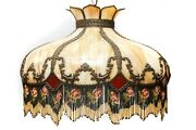 Huge Victorian Slag Stained Glass Lamp / Lampshade 24in Wide, W Fringe Tassels