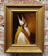 Stanislaus Torrents -head Of A Bishop -19th Century Oil Painting