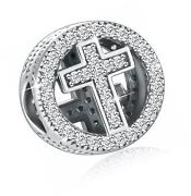 925 Sterling Silver Cz Cross Charms With God All Things Are Possible Fit Snake
