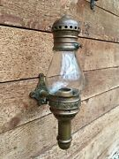 Antique 1800's Adams And Westlake Brass Side Lamp For Candles 5-1/4 Pear Globe