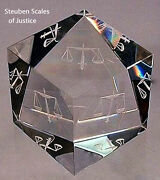 Original New In Box Steuben Glass Scales Of Justice Paperweight Prism Law Judge