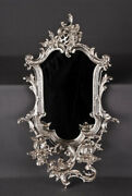 Wall Mirror With Candle Holder In Antique Rococo Style Silver Plated