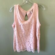Banana Republic Top M Pink Floral Lace Sleeveless Lined Blouse - Size Medium