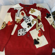 Vintage 90s Spree International Red Knit Sweater Las Vegas Embroidered Cards L