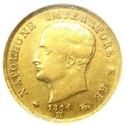 1814 Italy Napoleon Gold 40 Lire Coin 40l - Certified Ngc Au50 - Rare Coin