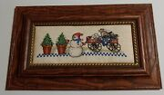 Completed Hand Made Framed Cross Stitch Elegant Christmas Tree Snowman Wagon New