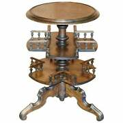 Antique Two Tier Hand Carved Victorian Pokerwork Oak Library Book Table Bookcase