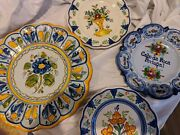 Hand Painted Spanish Wall Plates Cabo San Roca Portugal With Writing On Back