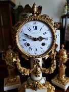 Antique French Ormolu And White Marble Mantel Clock Garniture.