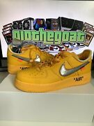 Nike Air Force 1 Off-white University Gold Metallic Silver - Size 9.5 - In Hand