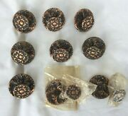 Vintage Copper Drawer Cabinet Knobs Pulls With Backplates 18 Pcs. Floral