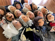Amazing Antique Large Lot Costume Doll Finger / Hand Puppets Punch And Judy