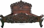 Queen 60x80 Designer French Style Hand Carved Mahogany Rococo Wooden Bed