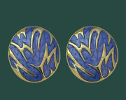 Antique Palace Retro Blue Round Button Ripple Clip Earrings Gold Tone