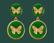 Antique Palace Retro Green Double Round Butterfly Clip Earrings Gold