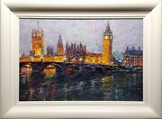 Lana Okiro Signed Original Oil Painting On Canvas And039evening Westminster Iiiand039.