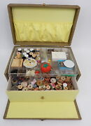 Vintage Mid Century Quilted Padded Sewing Chest Notions Box Thread Spools Lot