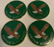 Dayton Wire Wheels Set Of 4 Green And Gold Metal Eagle Emblems Size 2.38andrdquo