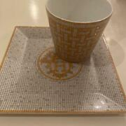 Hermes Mosaique Au 24 Square Plate 15 Cm And Cup Gold Porcelain Dinnerware