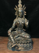 20.4and039and039 China Antique Brass Statue Old Copper Kwan-yin Buddha Statue