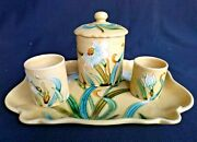 Antique French Art Nouveau Tray And Boxes De Bruyn Majolica Jugendstil Daffodils