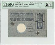 Netherlands 50 Gulden 1929 Minerva Replacement Pick 47 Pmg About Uncirculated 55