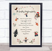 Personalised Family Name Small Cartoon Figures Christmas Rules Event Sign Print