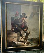 19th Century French Oil Painting Organ Grinder With Working Monkey Ca.1875