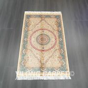 3and039x5and039 Handmade Silk Carpet Antistatic Easy To Clean Indoor Oriental Rug Z534a