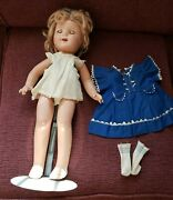 ♡shirley Temple♡ Miss Charming 17 Composition Doll From 1936 Blue Dress Rare