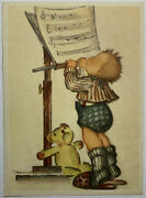 Hummel Lithograph Card Musician Boy Looking At Music Paper With Teddy Bear