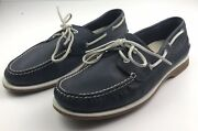 Clarkand039s Menand039s Blue Leather Boat Nautical Lace-up Boat Shoes Size Uk 10 G