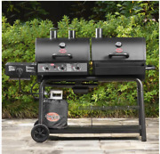 Steel Charcoal And Gas Combo Grill Bbq -smoker Outdoor Cooker- Backyard Barbecue