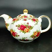 Royal Albert Old Country Roses 1998 4-cup Teapot Signed By Michael Doulton Gold