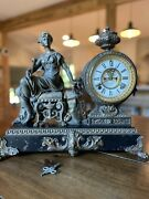 19thc Antique French Victorian Style Ansonia Figural Lady Statue Mantel Clock