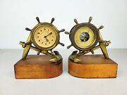Antique Plymouth Selsi Shipand039s Wheel And Anchor 8 Day Clock Barometer Set Book Ends