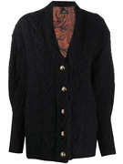 Etro Wool And Cashmere Oversized Cardigan With Quilted Silk Lining 3500 Fw20